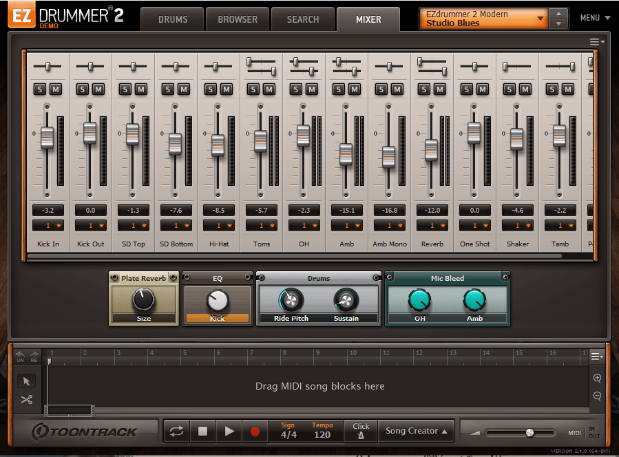 EZdrummer mixer tab