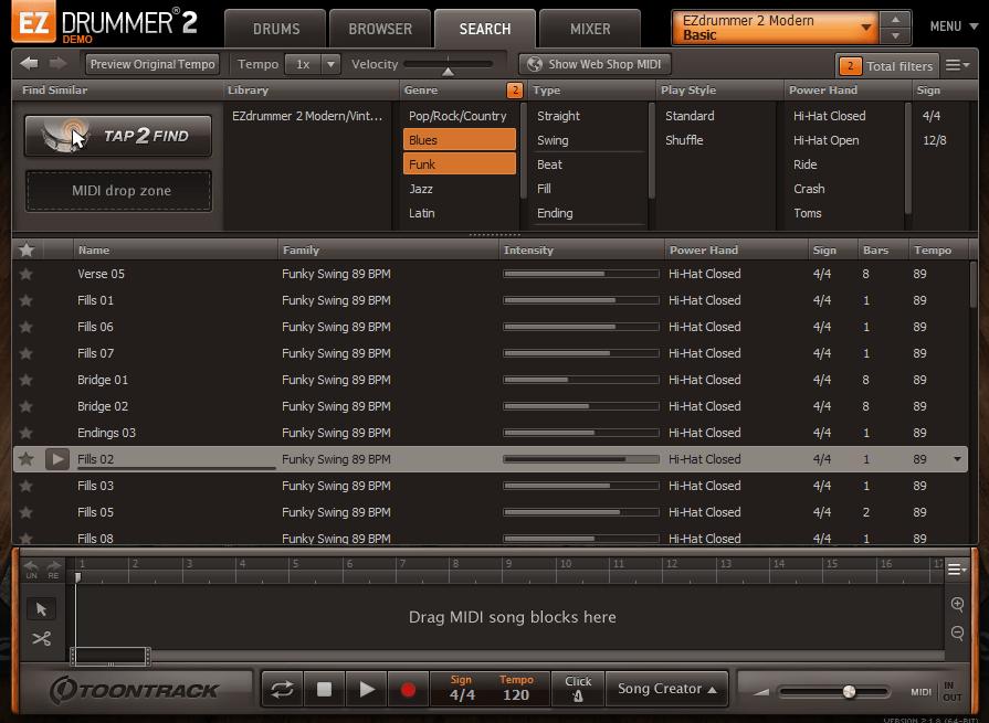 EZdrummer search tab